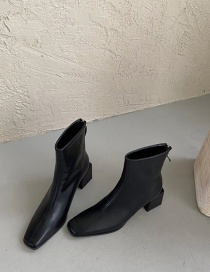 Fashion Black Square Toe Chunky Heel Stretch Solid Color Short Boots