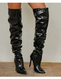 Fashion Black High Stiletto Patent Leather Stretch Over The Knee Boots