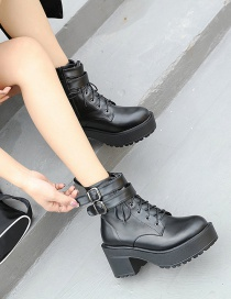 Fashion Black Solid Color Martin Boots With Thick Sole Belt Buckle