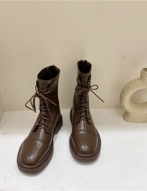 Fashion Brown Soft Leather Breathable Front Lace-up Martin Boots