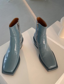 Fashion Sky Blue Square Toe Side Zip Mid-heel Ankle Boots