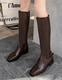 Fashion Brown Stitching Belt Buckle Pointed Toe High Knight Boots