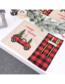 Fashion Color Mixing Lattice Christmas Tree Embroidery Contrast Color Table Mat