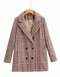 Fashion Color Woolen Plaid Double-breasted Long Coat