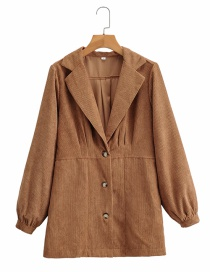 Fashion Camel Deep V Single-breasted Pleated Solid Color Coat