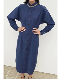 Fashion Blue Single-breasted Shirt Dress With Belt