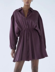 Fashion Purple Shirt Style Belted Solid Color Dress