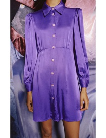 Fashion Purple Silk Satin Shirt-style Solid Color Single-breasted Dress