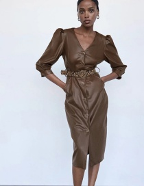 Fashion Brown Faux Leather Deep V Dress With Belt