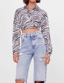 Fashion Black And White Zebra Print Short Shirt