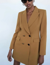 Fashion Camel Double-breasted Long Blazer