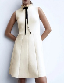 Fashion Creamy-white Knitted Dress With Bow And Wood Ears