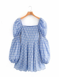 Fashion Blue Embroidered Square Neck Stitching Puff Sleeve Dress