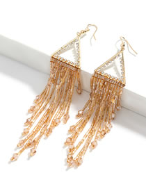 Fashion Brown Triangle Alloy Acrylic And Diamond Glass Tube Tassel Earrings