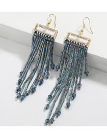 Fashion Cyan Square Alloy Acrylic And Diamond Glass Tube Tassel Earrings