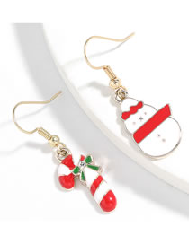 Fashion Christmas Cane Snowman Alloy Dripping Christmas Cane Snowman Asymmetrical Earrings