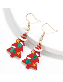 Fashion Red Christmas Tree Alloy Painted Christmas Tree Earrings