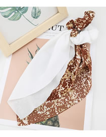 Fashion Brown Contrasting Color Printed Fabric Ribbon Bow Tie