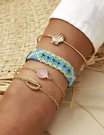 Fashion Gold Color Scalloped Shell Cord Hand-woven Bracelet Set