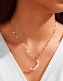 Fashion Gold Color Large And Small Pearl Beaded Moon Alloy Pendant Necklace