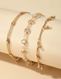 Fashion Gold Color Rhinestone Bell Pendant Alloy Anklet Set