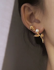 Fashion Flower Gold Color Drop Oil Rose Flower Pearl And Diamond Circle Earrings