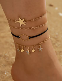 Fashion Gold Color Diamond-studded Geometric Five-pointed Star Anklet Set