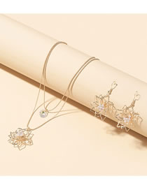Fashion Gold Color Geometric Flower Diamond Pearl Necklace Earring Set