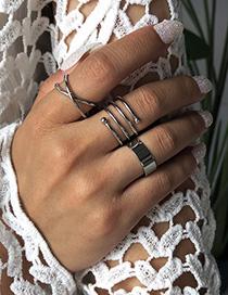 Fashion White K Alloy Geometric Shape Ring Set