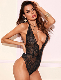 Fashion Black Lace Hollow Halterneck See-through Jumpsuit