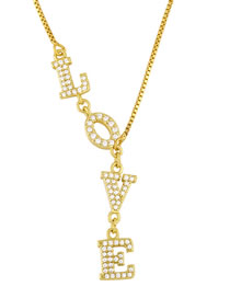 Fashion Gold Coloren Gold-plated Copper Necklace With Letters