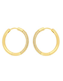 Fashion White Zirconium Round Gold-plated Copper Earrings With Diamonds