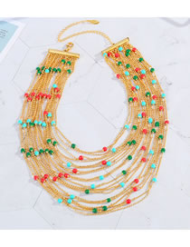 Fashion Gold Coloren Drop Oil Plating Real Gold Beaded Multilayer Necklace