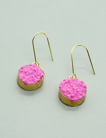 Fashion Pink Round Resin Pendant Alloy Earrings