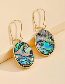 Fashion Color Imitation Abalone Shell Oval Shell Alloy Earrings