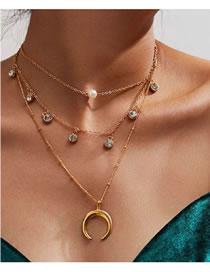 Fashion Gold Coloren Alloy Geometric Moon Pendant Diamond Multi-layer Necklace