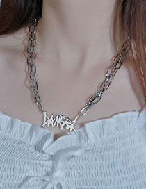 Fashion Silver Color Thick Chain Geometric Stainless Steel Necklace
