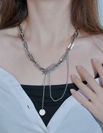 Fashion Silver Color Round Plate Pendant Thick Chain Geometric Multi-layer Necklace