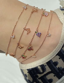 Fashion Gold Coloren Cherry Fruit Diamond Butterfly Alloy Multilayer Anklet