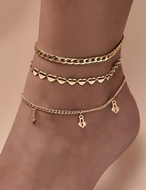 Fashion Gold Coloren Love Lock-shaped Diamond-studded Alloy Multilayer Anklet