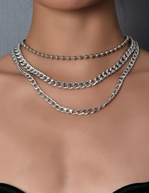 Fashion Silver Color Alloy Chain Multilayer Necklace