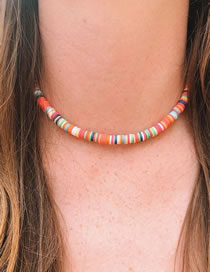 Fashion Color Suede Contrasting Color Beaded Necklace