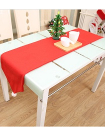 Fashion Red Wool Ball Solid Color Non-woven Christmas Table Runner