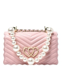 Fashion Pink Chain Love Pearl Flap Crossbody Shoulder Bag