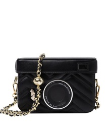 Fashion Black Chain Camera Diamond Shoulder Messenger Bag