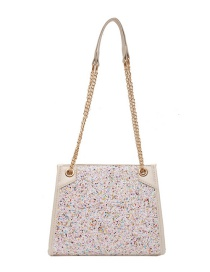 Fashion Creamy-white Woolen Chain Sequined One-shoulder Messenger Bag