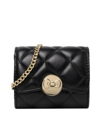 Fashion Small Section-black Chain Flap Lock Crossbody Shoulder Bag