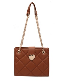 Fashion Brown Chain Rhombus Love One Shoulder Messenger Bag