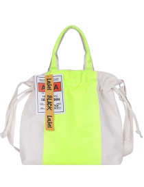 Fashion Fluorescent Green Canvas Contrast Drawstring Crossbody Shoulder Bag