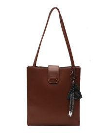 Fashion Brown Large Capacity Edging Shoulder Messenger Bag